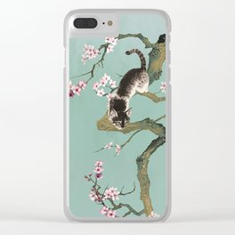 Fortune Cat In Cherry Tree Clear iPhone Case