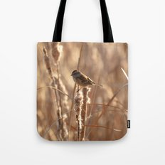 A Sparrow on Catails Tote Bag