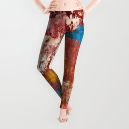 Desert Sun [5]: A bright, bold, colorful abstract piece in warm gold, red, yellow, purple and blue Leggings