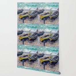 Three Fishing Boats by Claude Monet Wallpaper