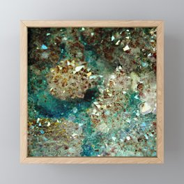 SPARKLING GOLD AND TURQUOISE CRYSTAL Framed Mini Art Print