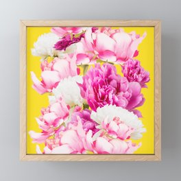 Beauties of nature - large pink flowers on a yellow background Framed Mini Art Print