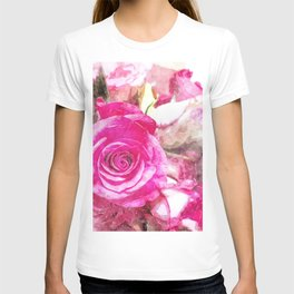 Bunch of Pink roses (watercolour) T-shirt