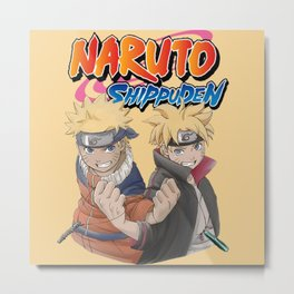 Naruto Uzumaki with Boruto Metal Print