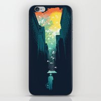 green iPhone & iPod Skins featuring I Want My Blue Sky by Picomodi