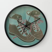 heels Wall Clocks featuring Moray Heels by Jacqueline Pytyck
