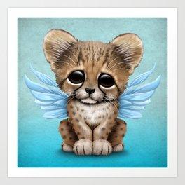 Cute Baby Cheetah Cub with Fairy Wings on Blue Art Print