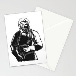 EMT Wearing Hazmat Suit Scratchboard Stationery Cards