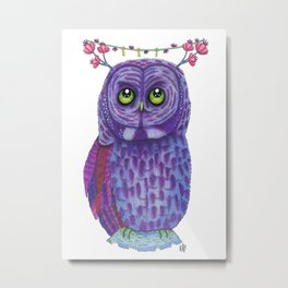 The Great Gray Purple Owl, A Key Holder And Protector Of The Mice Kingdom Metal Print