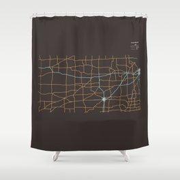 Kansas Highways Shower Curtain