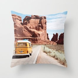 On the road Throw Pillow