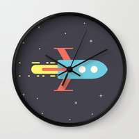 rocket Wall Clocks featuring Rocket by Henrique Athayde