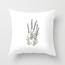 Lavender art print, ink and watercolor Throw Pillow