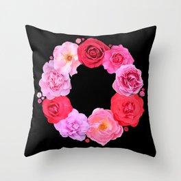 Rose wreath III Throw Pillow