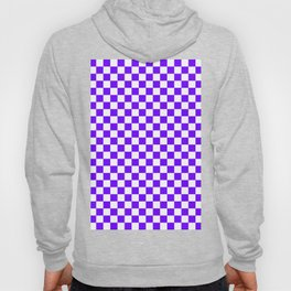 White and Indigo Violet Checkerboard Hoody
