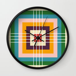 Retro Colored Abstract Shapes Wall Clock