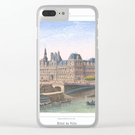 Paris art print Paris Decor office decoration vintage decor HOTEL DE VILLE of Paris Clear iPhone Case