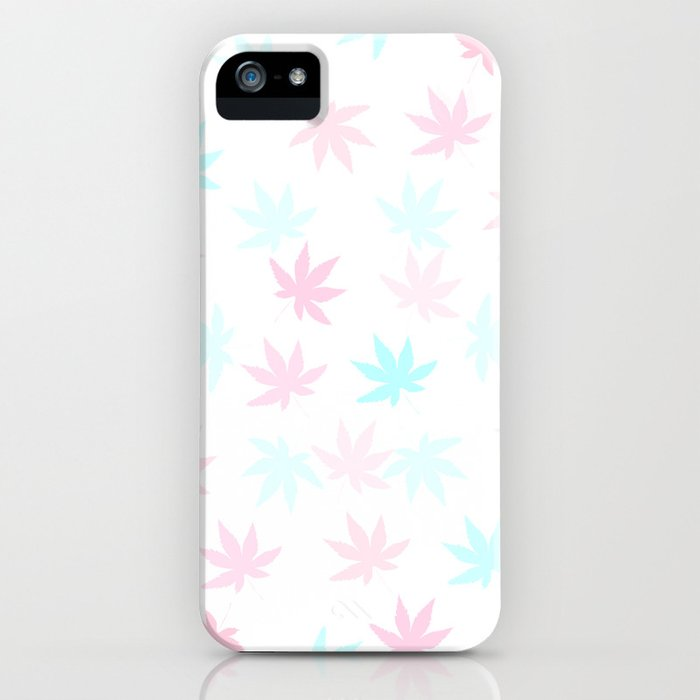 Teal and Pink Kush Leaf iPhone Case
