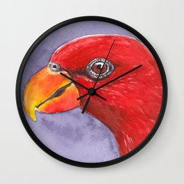 Lory parrot bird watercolor Wall Clock