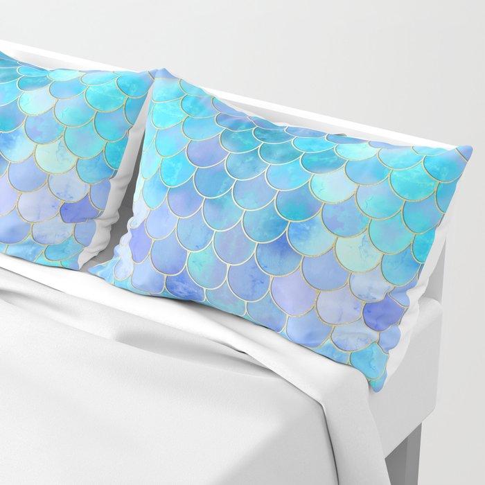 Aqua Pearlescent & Gold Mermaid Scale Pattern Pillow Sham