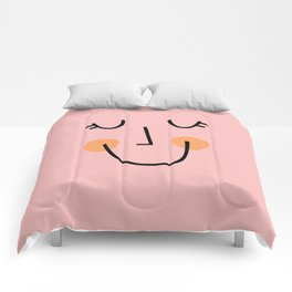 Winky Smiley Face in Pink Comforters