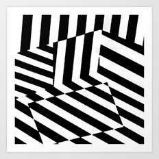 Black and White Dazzle Camouflage Pattern Art Print