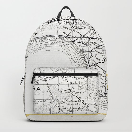 Vintage Los Angeles City Gold Foil Location Coordinates with map Backpack