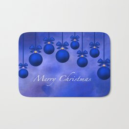 Merry Christmas Ornaments Bows and Ribbons – Blue Bath Mat