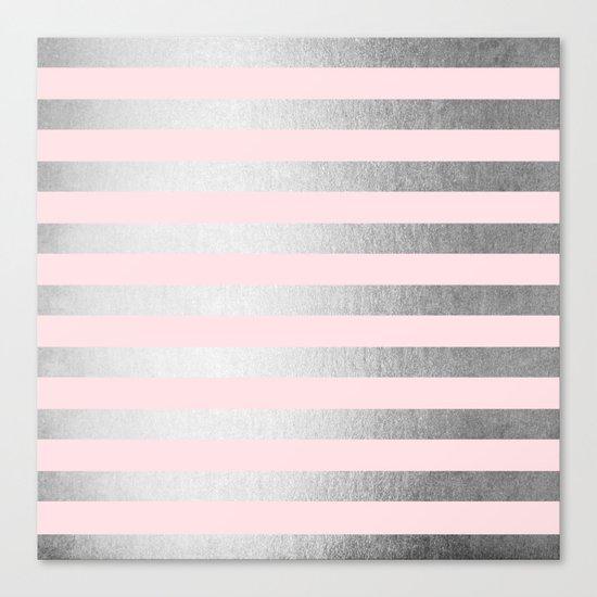 Stripes Moonlight Silver on Flamingo Pink Canvas Print