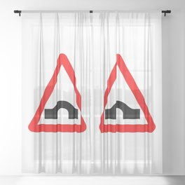 Bridge Traffic Sign Isolated Sheer Curtain