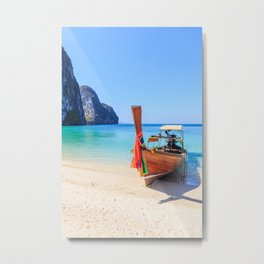 Long tail boat on white sand beach land Metal Print