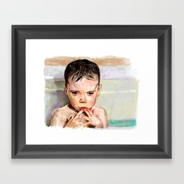 Bath contemplation  Framed Art Print