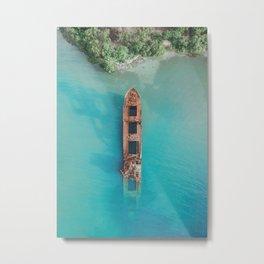 Roatan Island Shipwreck Metal Print