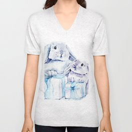 Cute Watercolor Rabbits Unisex V-Neck