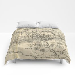 Vintage Map of Porto Portugal (1835) Comforters