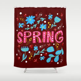 Hand drawn vector illustracion with the word spring Shower Curtain