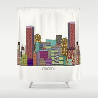 miami Shower Curtains featuring Miami by bri.buckley