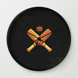 Minimal Retro Cricket Bat Ball Wall Clock