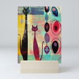 Mid-Century Modern 2 Cats - Graffiti Style Mini Art Print