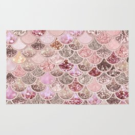 Rose Gold Blush Glitter Ombre Mermaid Scales Pattern Rug