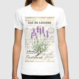 Lavender Antique Rustic Flowers Vintage Art T-shirt