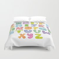 alphabet Duvet Covers featuring Dogs alphabet by Maria Jose Da Luz
