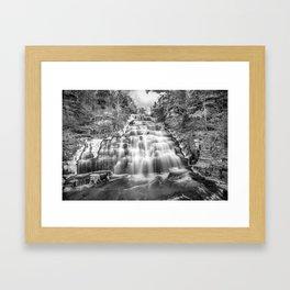 B&W falls Framed Art Print