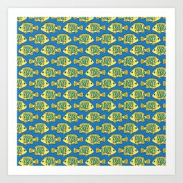 Tropical Fish in Pastel - Doodle Pattern Art Print