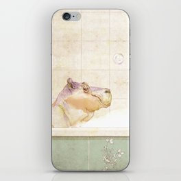 Hippo in the bath iPhone Skin