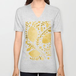 Branches and leaves - yellow Unisex V-Neck
