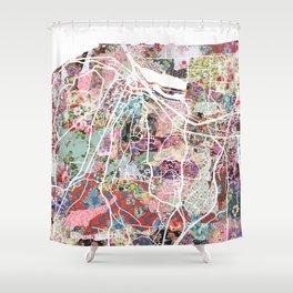 Honfleur map Shower Curtain