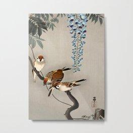 Sparrows and wisteria flower - Vintage Japanese Woodblock Print Art Metal Print