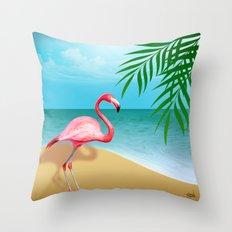 FLAMINGO BEACH Throw Pillow