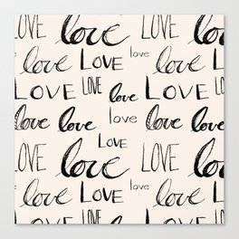 Words of Love // Antique White Canvas Print